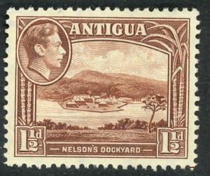 ANTIGUA 1938-51 KGVI 1 1/2d Chocolate Brn NELSON'S DOCKYARD Pictorial Sc 86a MLH