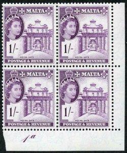 Malta SG276 1/- Deep Reddish Violet Plate 1a U/M Block