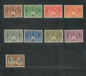 Cayman Islands Sc#69-77 M/H/VF, Cv. $60