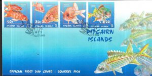 Pitcairn Islands #583-586  Squirrel Fish on cover  (FDC)  CV $9.50