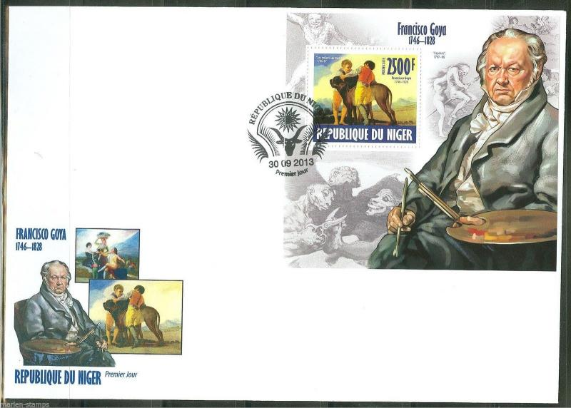 NIGER 2013 FRANCISCO GOYA SOUVENIR SHEET  FIRST DAY COVER