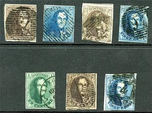 Belgium - Collection of Early Issues - Sc# 1 , 2 , 3 , 4 , 9 , 10 & 11 Used