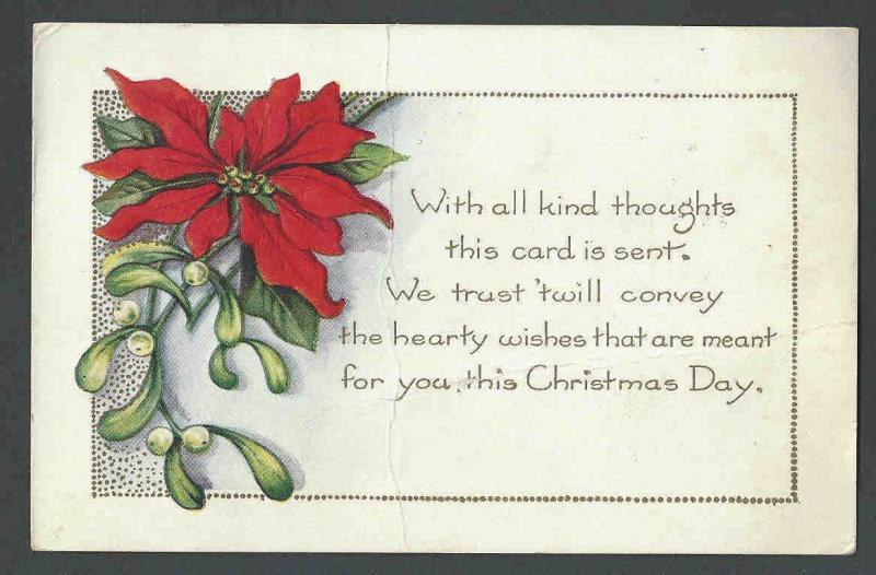 1923 PPC* Xmas Seal #WX31 Untied & Unchecked For Type On Xmas Card Has Ctr Bend