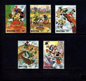 BHUTAN - 1985 - DISNEY - MICKEY - DONALD - TWAIN - TRAMP ABROAD ++ 5 X MNH SET!