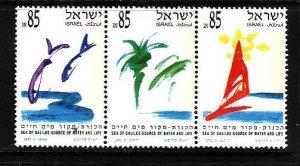 Israel-Sc#1106a -unused NH set-Sea of Galilee-Trees-Sailboat-Fish-1992-