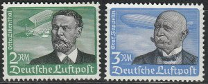 Stamp Germany Mi 538-9 Sc C55-6 1934 3rd Reich Airmail Lillenthal Zeppelin MNG