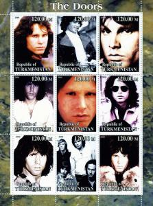Turkmenistan 2000 THE DOORS American Rock Band Sheet (9) Perforated Mint (NH)