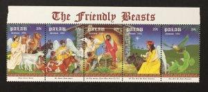 Palau 1992 #312 Strip of 5, Christmas, MNH.