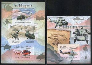 Burundi 1069, 1088 MNH  Helicopter Souvenir Sheet Set from 2012