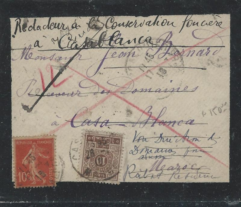 FRENCH MOROCCO  (PP2709B) 1915 INCOMING MOURNING COVER WITH 10C MOROCCO POSTAGE