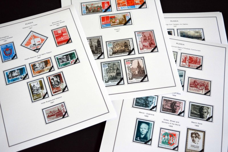 COLOR PRINTED RUSSIA 1966-1974 STAMP ALBUM PAGES (143 illustrated pages)