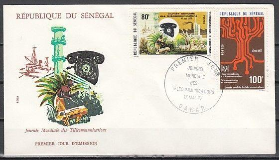 Senegal, Scott cat. 448-449. Telecommunications issue. First day cover.