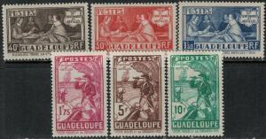 Guadeloupe 1935 SC 142-147 Mint SCV $60.00 Set