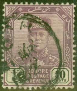 Johore 1910 10c Dull Purple & Black Chalk Paper SG67a BAHRU CDS
