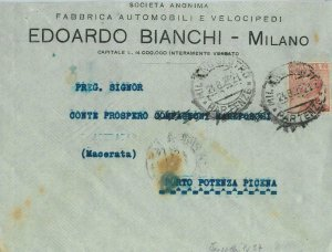 93178 - ITALY - POSTAL HISTORY - PERFIN stamp on COVER: Bianchi BICYCLES 1929