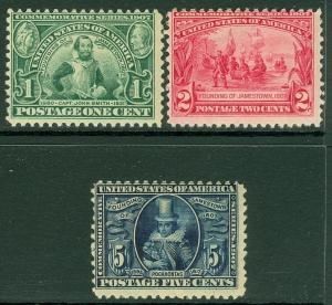 EDW1949SELL : USA 1907 Scott #328-30 Mint Original Gum. Catalog $177.00.