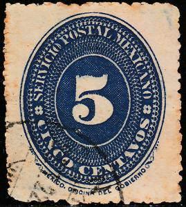 MEXICO 216 5c LARGE NUMERAL, USED. F-VF (19)