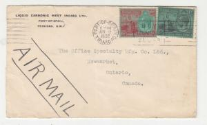 TRINIDAD & TOBAGO, 1932 Airmail cover, KGV 6d. & 1s., Port of Spain to Canada.