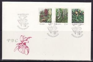 Aland, Scott cat. 35, 47, 54. Flowers & Orchid values. First day cover.^