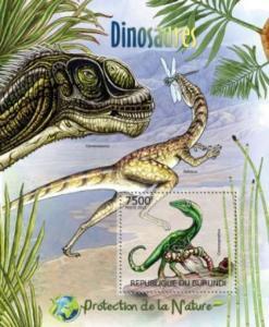 Burundi - Dinosaurs on Stamps -  Stamp Souvenir Sheet 2J-297