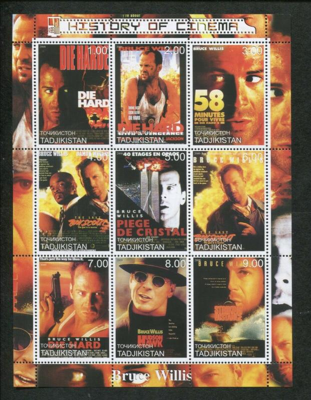 Tajikistan Commemorative Souvenir Stamp Sheet - History of Cinema - Bruce Willis