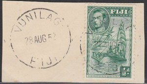 FIJI 1952 GVI ½d on piece VUNILAGI cds - latest known date?.................L553
