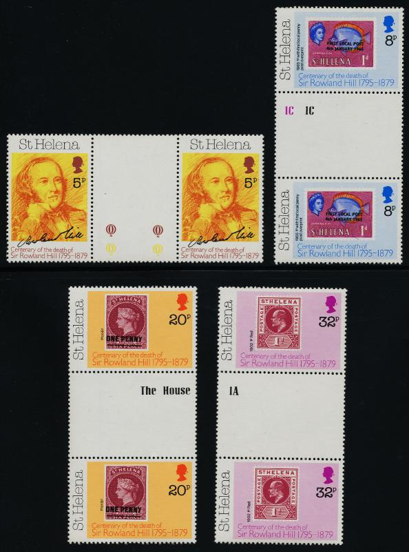 St Helena 328-31 gutter pairs MNH Rowland Hill, Stamp on Stamp, Fish