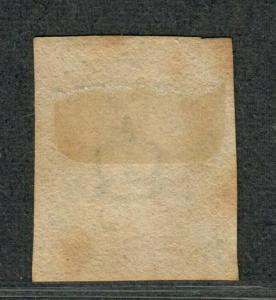Great Britain Sc#1 Used/VF, Penny Black 4 Margins Lightly Toned, Cv. $320