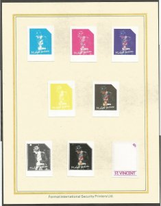 MICHAEL JACKSON STAMPS.COLOR PROOFS.1985 ST VINCENT STAMPS.FORMAT INT.SECURITY P