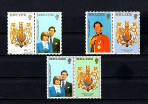 BELIZE - 1981 - ROYAL WEDDING - LADY DIANA - PRINCE CHARLES - 3 X MINT MNH SET!