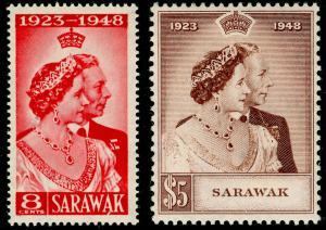 SARAWAK SG165-166, COMPLETE SET, NH MINT. Cat £48. RSW