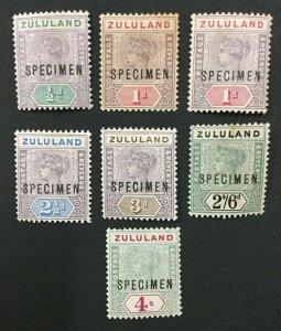 MOMEN: ZULULAND SG #20s/27s SPECIMEN 1894 MINT OG H LOT #191796-703