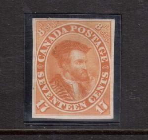 Canada #19TCii VF Plate Proof In Orange Yellow On India Paper