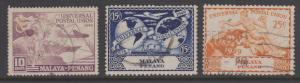 Penang 1949 UPU 3 Values Sc#23-25 Used