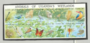 Uganda #857 Wetlands, Insects, Birds, Frogs, Reptiles 1v M/S of 16 Imperf Proof