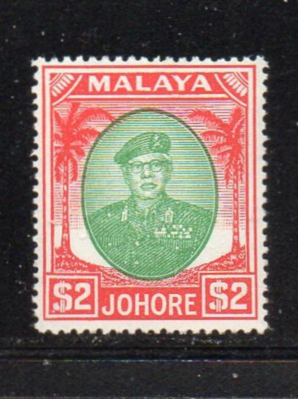 Malaya Johore Sc 149 1949 $2 red & emerald Sultan Ibrahim stamp mint NH