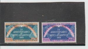 Trieste  Scott#  184-185  MH  (1953 Overprinted)