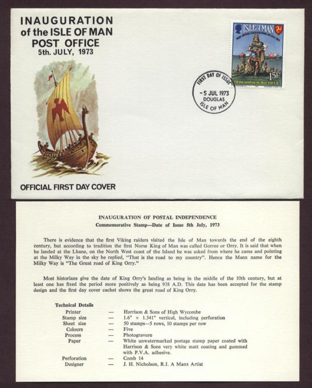Isle of Man # 28 , Inauguration Postal Independence FDC