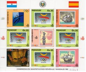 Paraguay 1990 Mi#4467K Barcelona Olympics/500th.America Mini-Sheetlet (4+5L) MNH