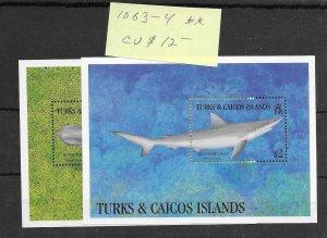 Turks & Caicos #1063-1064 MNH - Sourvenir Sheet - CAT VALUE $12.00