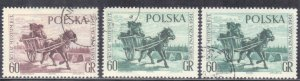 POLAND  SCOTT# 1018,1019  USED  60g  1961  MAIL CART   SEE SCAN