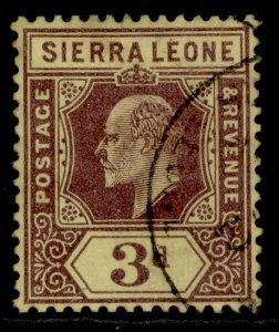SIERRA LEONE EDVII SG104, 3d purple/yellow, FINE USED.