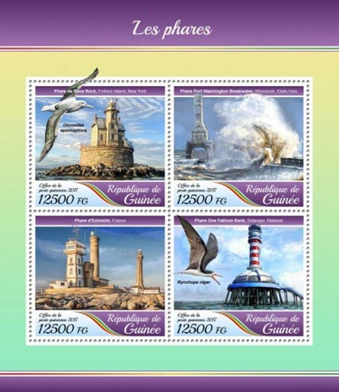 Guinea - 2017 Lighthouses - 4 Stamp Sheet - GU17417a