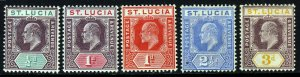 ST LUCIA KE VII 1904-10 A Watermark Multiple Crown CA Group SG 64 to SG 70 MINT