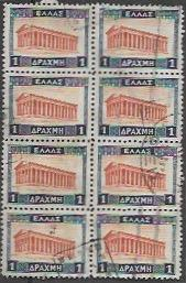 Greece used stamps #366 Block of 8 Temple  1933. Nice