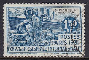 St. Pierre & Miquelon - Scott #135 - Used - Vertical crease - SCV $6.00