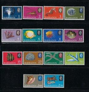 BARBADOS SCOTT #267-280 QEII 1965  SET- (WMK 314 UPRIGHT) MINT  NEVER HINGED