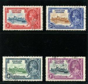 Falkland Islands 1935 KGV Silver Jubilee set complete VFU. SG 139-142. Sc 77-80.
