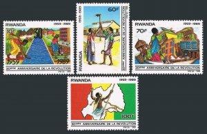Rwanda 1338-1341,MNH.Michel 1425-1428. Revolution,30th Ann.1990.