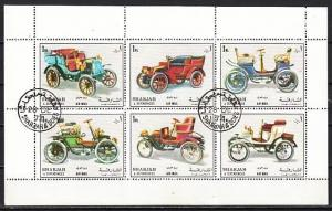 Sharjah, Mi cat. 1332-1337. Antique Autos sheet. Folded. Canceled, C.T.O.